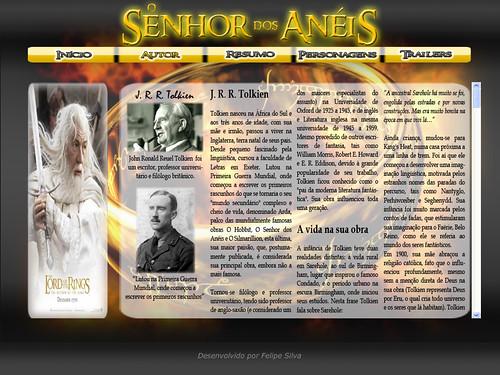 Página Autor do Site Senhor dos Anéis