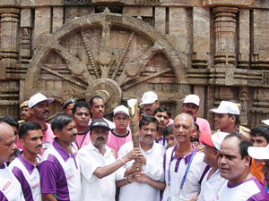 Queen's Baton Relay in Konark. Puri, Orissa