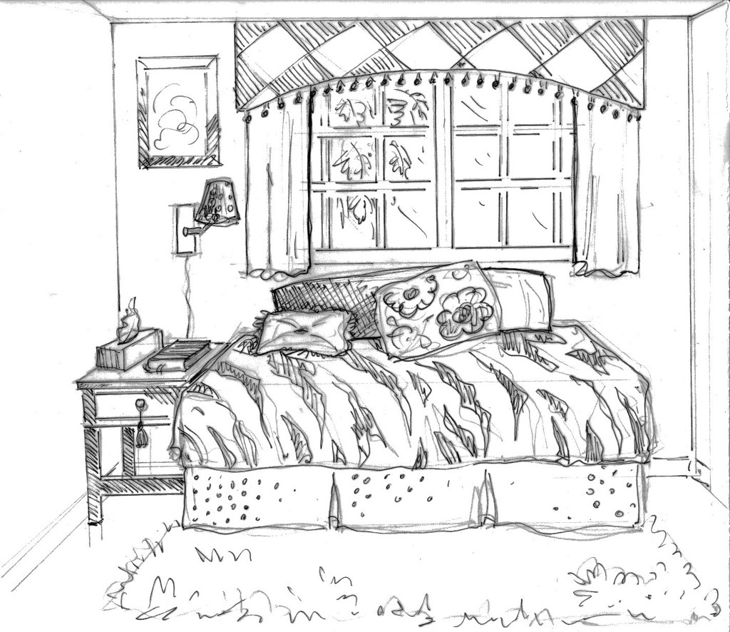 Drawing Ideas For Teenagers Bedroom Sketch Coloring Page