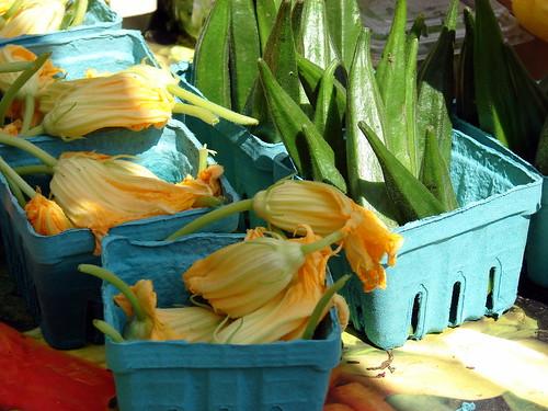squash blossoms and okra