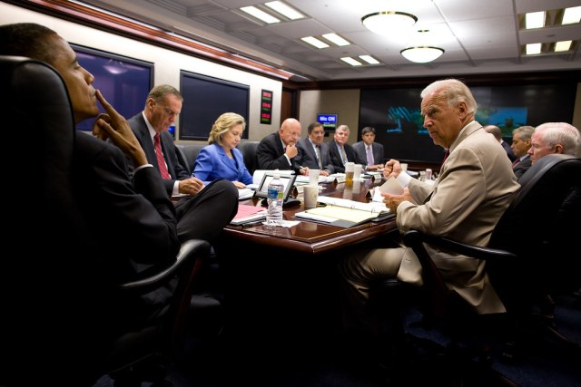 President Barack Obama meets with national security team in the Situation Room of the White House in 2010.