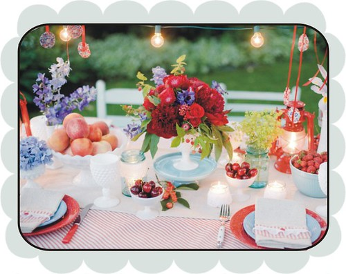 Blue and cherry table