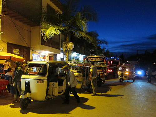 Guatape's tuk tuks await their next passengers in the main plaza.
