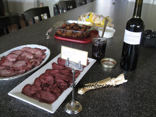 Moose tongue and homemade saskatoon wine