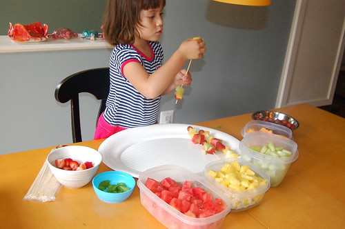 Making fruit skewers