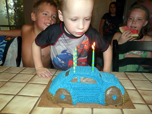 Landon blows out his candles