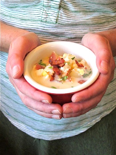 Lobster Corn Chowder with Basil and Bacon