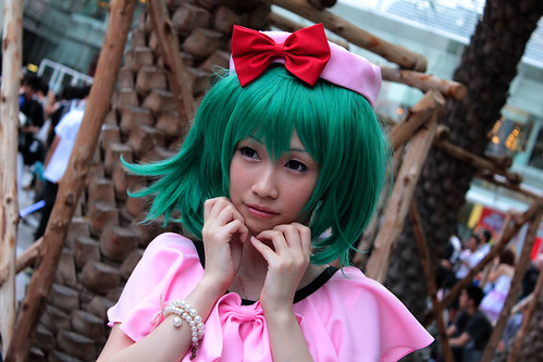cute green haired girl