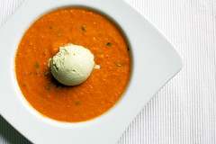 Gazpacho with Avocado ice cream