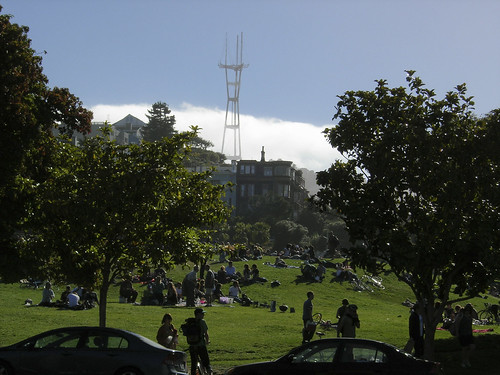fog of Twin Peaks as seen from Dolores Park