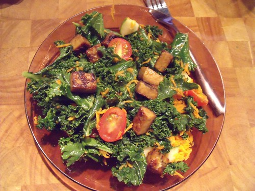 Kale Salad with Orange Chipotle Tempeh