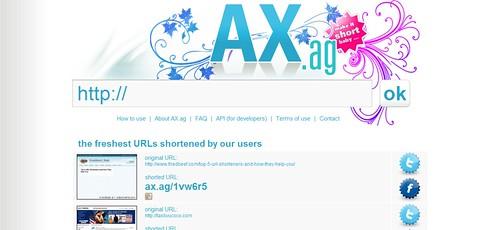 AX.ag - the world fastest url shortener