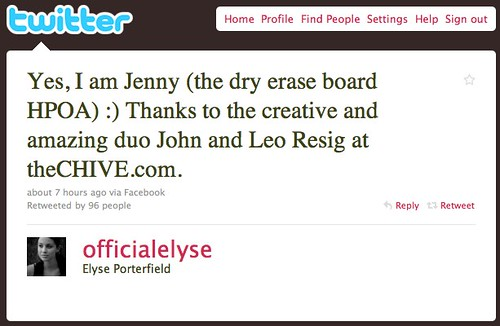 Twitter / Elyse Porterfield: Yes, I am Jenny (the dry e ...