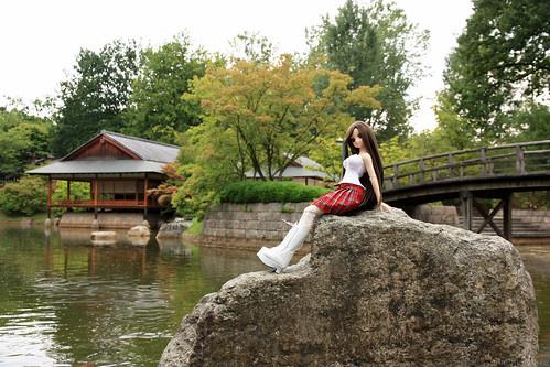 Yoko near the pond