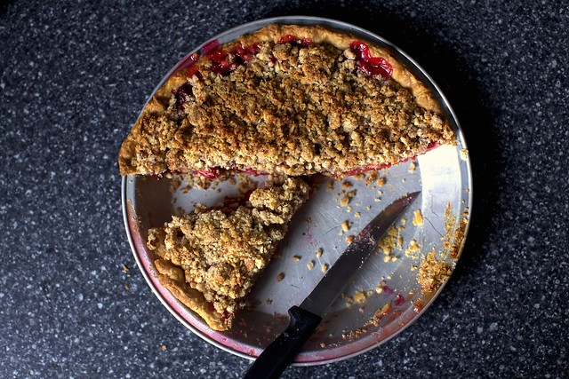 sour cherry pie with almond streusel