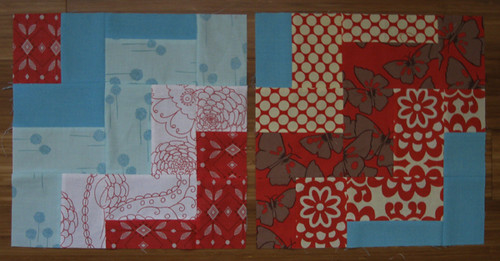 Red & Aqua Sampler Quilt blocks