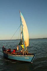 small ship sailing on Maputo bay