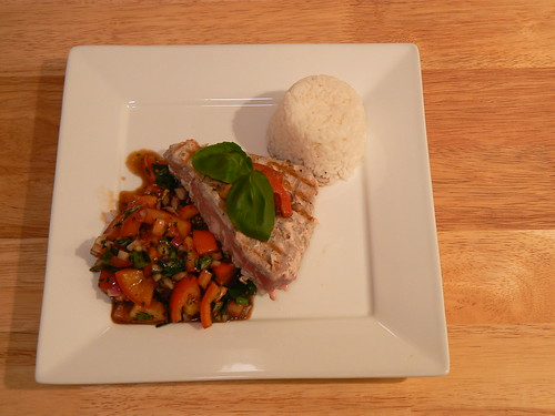 Tuna Steaks with Tomato and Basil Raw Sauce