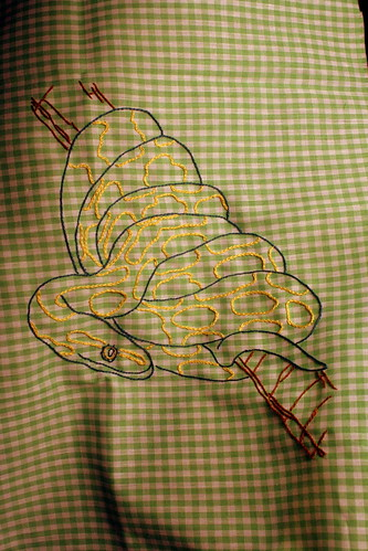 Hand Embroidered Snake