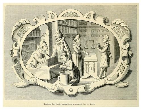 004-Tienda de un especiero drogista siglo XVI por Vriese-Le moyen äge et la renaissance…Vol III-1848- Paul Lacroix y Ferdinand Séré