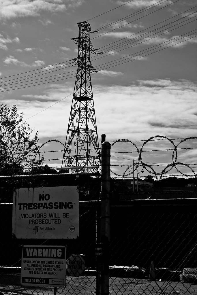 Barbed wire and tower