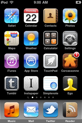 2010-07 iPod touch Home Screen
