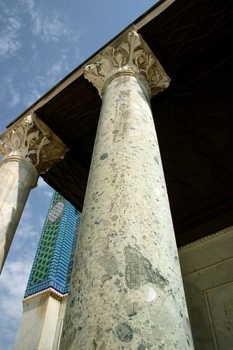 Green marble column