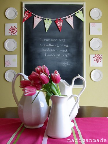 spring pink flower pennant plates chalkboard 2