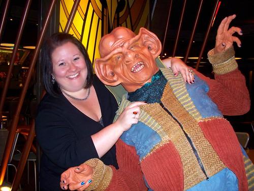 My Boss Rachel With a Ferengi Pal at the Star Trek Restaurant Quark's - Las Vegas