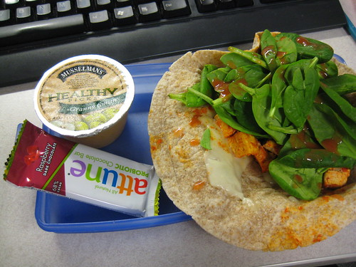 buffalo tofu wrap, Musselman's granny smith applesauce, attune probiotic bar