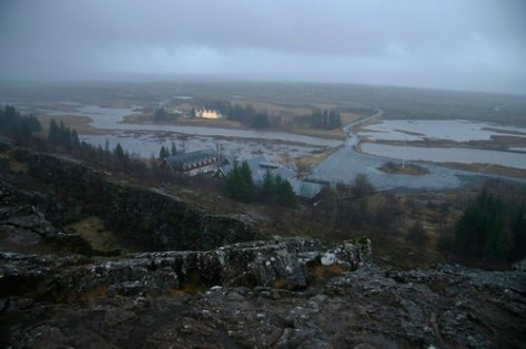 The meeting of the North American and the European tectonic plates at Thingvellir, Iceland