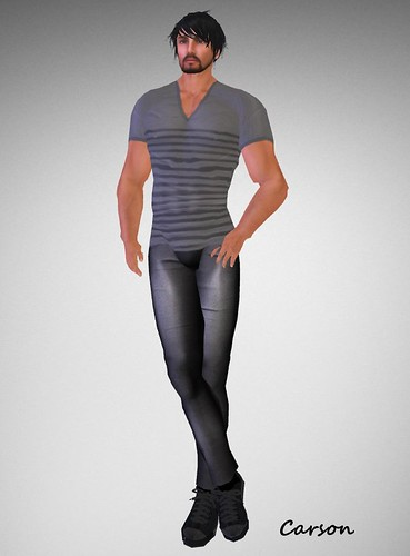 Wilson's Grey Striped Vee neck Shirt and Black Jeans