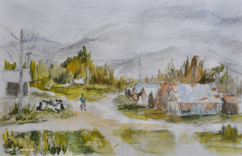 "Virtual paint out preliminary sketch ""Taking the Sheep Out to Pasture, Romania"""