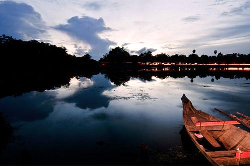 Angkor Wat's moat at evening
