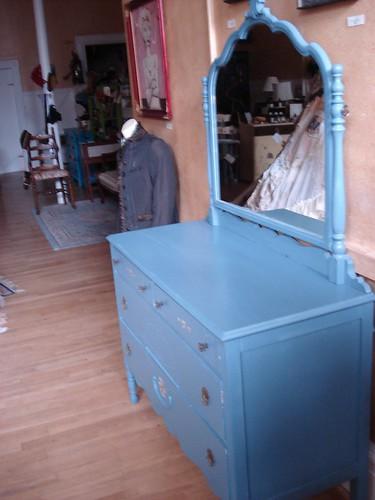 Blue dresser side