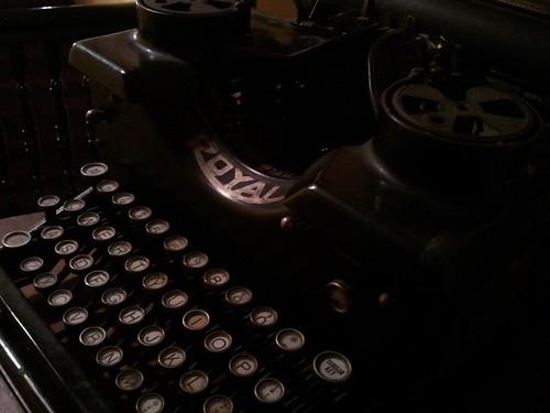 royal typewriter shown at an angle