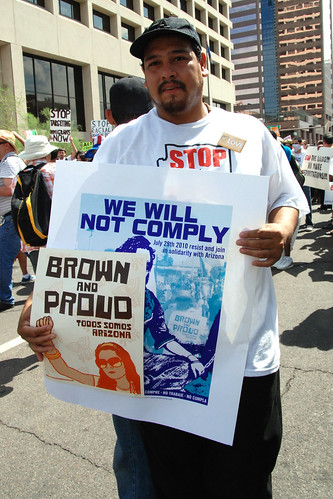 People converge in Phoenix, Arizona to protest the racist anti-immigrant bill SB1070