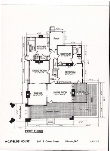 W.C. Fields House first floor plan