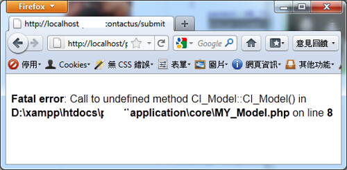 Fatal error: Call to undefined method CI_Model::CI_Model()