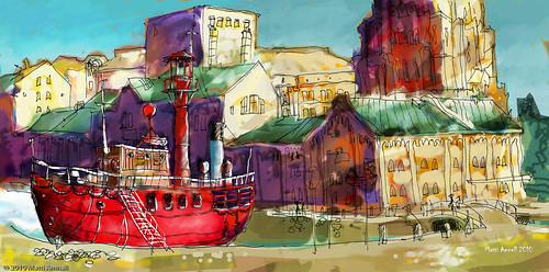 Old fireboat, Helsinki harbour - Digital colour added