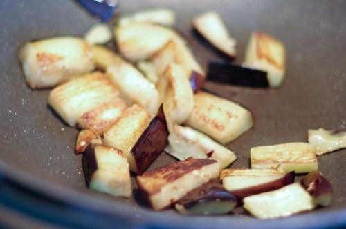 Eggplant in the wok...