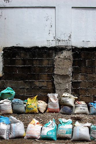 sandbags and wall