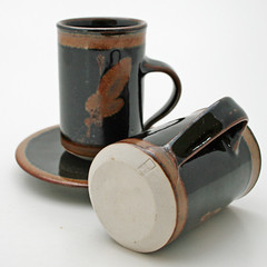 Broomhill Pottery. Demitasse cup and saucer. 1975-1993
