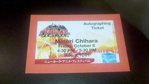 Minori Chihara Autograph ticket