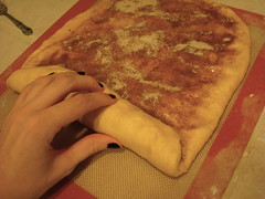 rolling up the dough