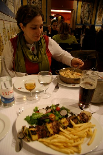 Branwyn eating dinner, Lison, Portgual