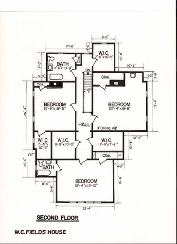 W.C. Fields House second floor plan