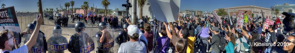 nazi rally and counter-protestors