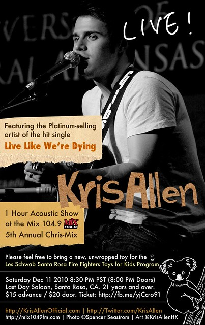 Kris Allen Promo Art - The Showbox Sodo, Seattle, WA