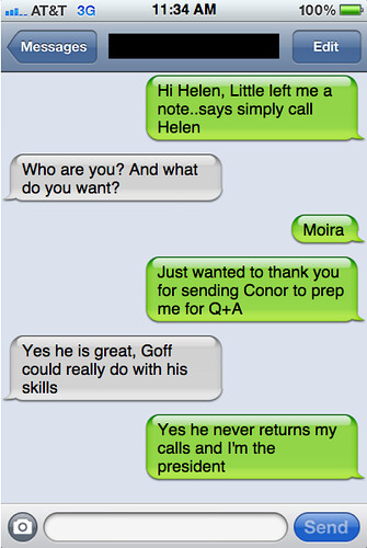 Txts from New York: Moira and Helen have a chat